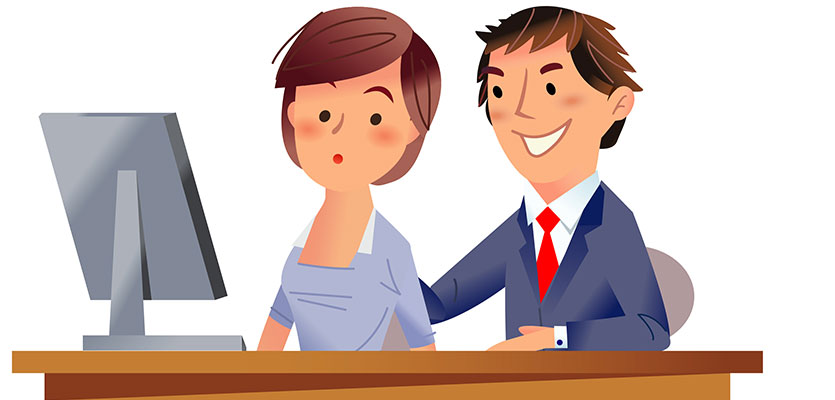 Cartoon of inappropriate man with woman sitting at desk.