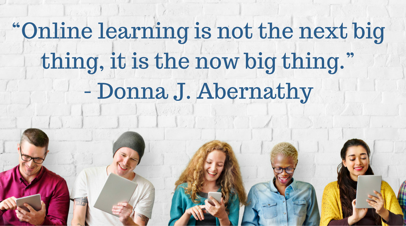 Image with quote about online learning