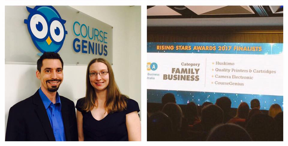 Directors Sarah and Vince at Business News Rising Stars Awards