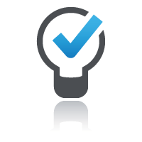 Blue check mark inside lightbulb for create online training courses