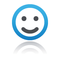 Blue smiling face for customer support for online staff training