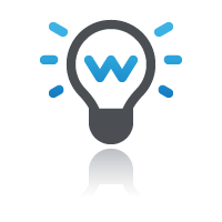 Shining lightbulb with blue light for online course platform
