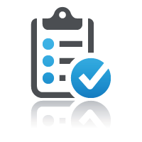 Clipboard with large blue check mark for managing staff training online