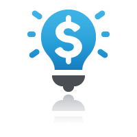 Dollar sign inside lightbulb for sell online courses