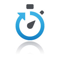 Clock with blue arrow showing time passing for previews