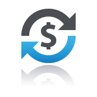 Dollar sign inside two arrows forming circle for securely sell courses online