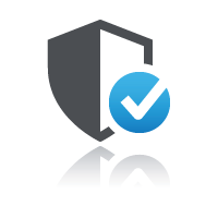 Shield with blue check mark for merchant facility to sell online courses