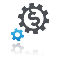 Two cogs with dollar sign for selling courses via online learning management system